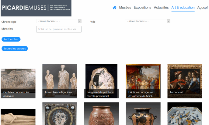 French Picardie museums portal by Pulsar Informatique