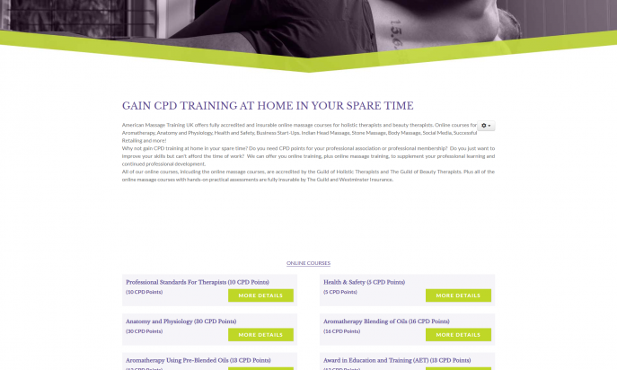 American Massage Training UK - Bespoke Event Website by Square Balloon