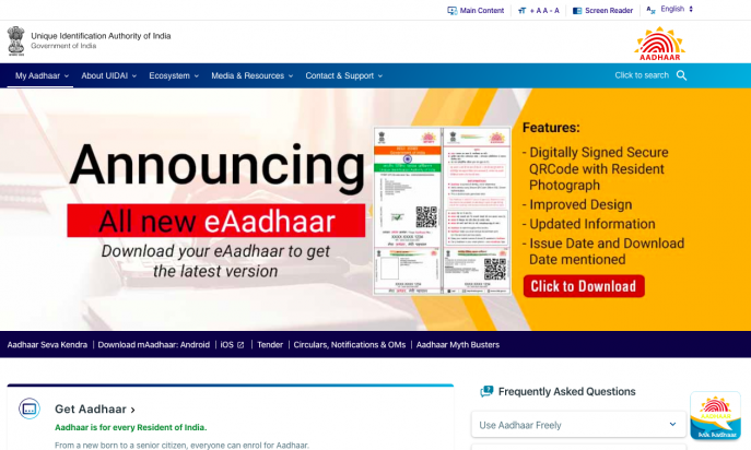 UIDAI- Unique Identification Authority of India(Aadhaar) by Tekdi Technologies Pvt. Ltd.